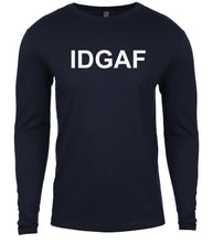 Load image into Gallery viewer, navy idgaf mens long sleeve shirt