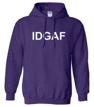 Load image into Gallery viewer, purple IDGAF hooded sweatshirt for women