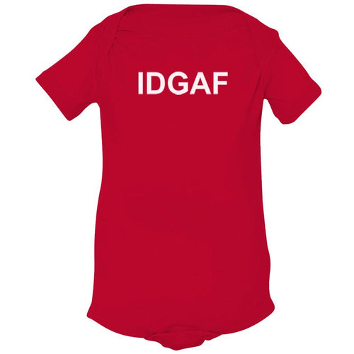 red IDGAF onesie for babies