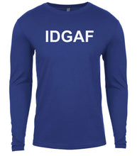 Load image into Gallery viewer, blue idgaf mens long sleeve shirt