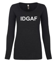 Load image into Gallery viewer, black IDGAF long sleeve scoop shirt for women