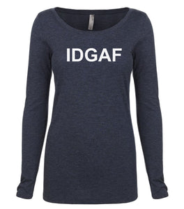 navy IDGAF long sleeve scoop shirt for women