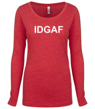 Load image into Gallery viewer, red IDGAF long sleeve scoop shirt for women