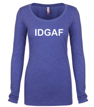 Load image into Gallery viewer, blue IDGAF long sleeve scoop shirt for women