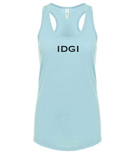 Load image into Gallery viewer, blue IDGI racerback tank top for women