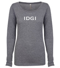 Load image into Gallery viewer, grey IDGI long sleeve scoop shirt for women