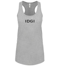 Load image into Gallery viewer, grey IDGI racerback tank top for women