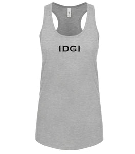 grey IDGI racerback tank top for women