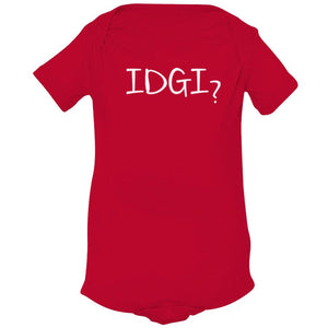 red IDGI onesie for babies