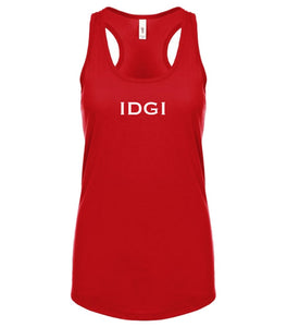 red IDGI racerback tank top for women