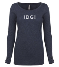 Load image into Gallery viewer, navy IDGI long sleeve scoop shirt for women