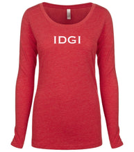 Load image into Gallery viewer, red IDGI long sleeve scoop shirt for women
