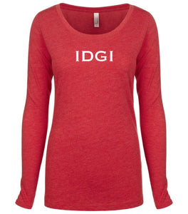 red IDGI long sleeve scoop shirt for women