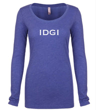 Load image into Gallery viewer, blue IDGI long sleeve scoop shirt for women
