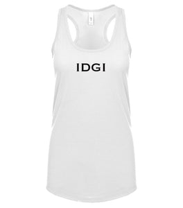 white IDGI racerback tank top for women