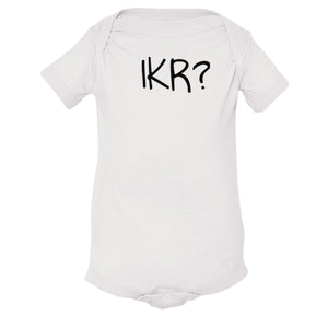 white IKR onesie for babies