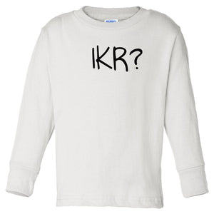 white IKR long sleeve t shirt for toddlers
