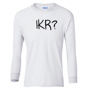 white IKR youth long sleeve t shirt for boys