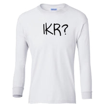 Load image into Gallery viewer, white IKR youth long sleeve t shirt for girls
