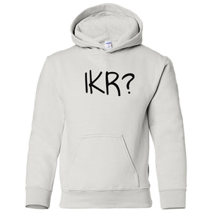 white IKR youth hooded sweatshirts for girls