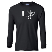 Load image into Gallery viewer, black ILY youth long sleeve t shirt for girls