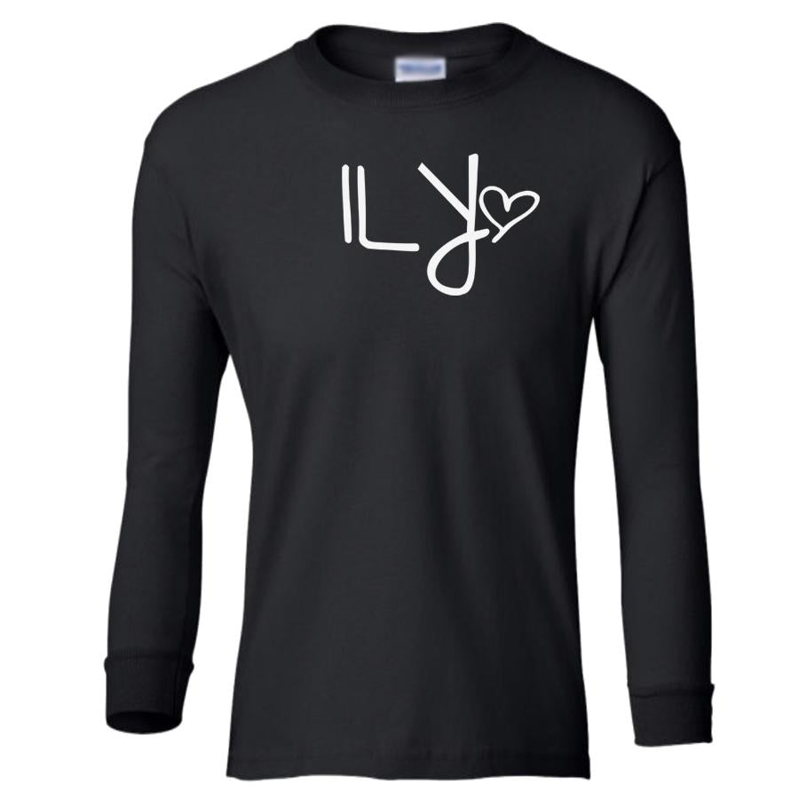 black ILY youth long sleeve t shirt for girls
