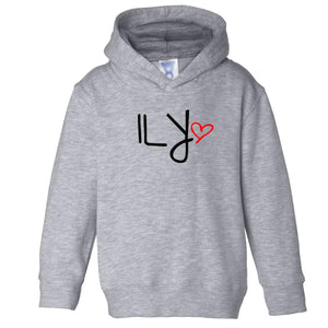 grey ILY hooded sweatshirt for toddlers