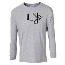 Load image into Gallery viewer, grey ILY youth long sleeve t shirt for girls