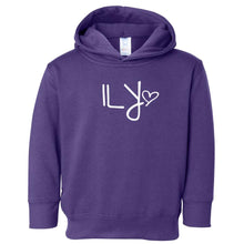 Load image into Gallery viewer, purple ILY hooded sweatshirt for toddlers