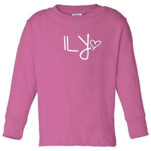 pink ILY long sleeve t shirt for toddlers