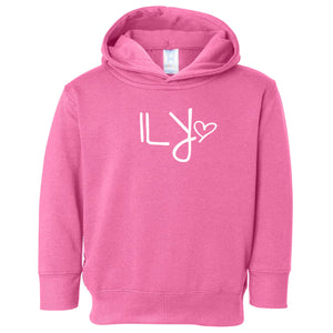 pink ILY hooded sweatshirt for toddlers