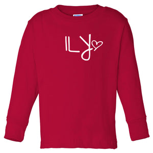 red ILY long sleeve t shirt for toddlers
