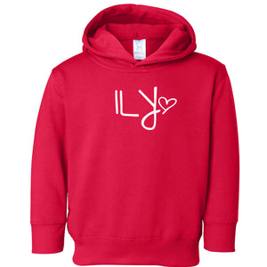 red ILY hooded sweatshirt for toddlers