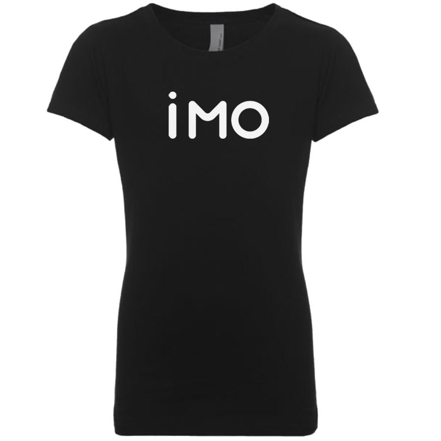 black IMO youth crewneck t shirt for girls