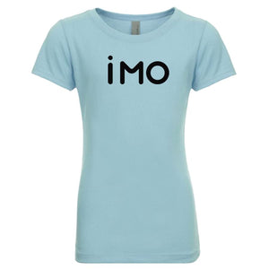 blue IMO youth crewneck t shirt for girls