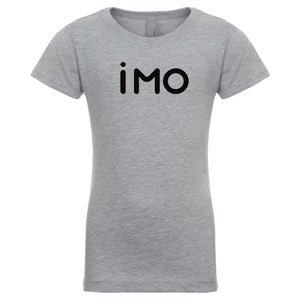 grey IMO youth crewneck t shirt for girls