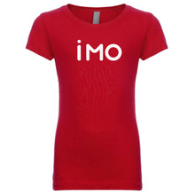 Load image into Gallery viewer, red IMO youth crewneck t shirt for girls