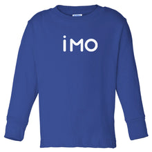 Load image into Gallery viewer, blue IMO long sleeve t shirt for toddlers