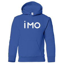 Load image into Gallery viewer, blue IMO youth hooded sweatshirt for boys