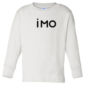white IMO long sleeve t shirt for toddlers
