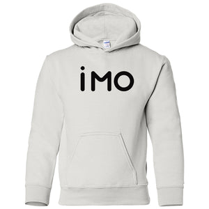 white IMO youth hooded sweatshirt for boys