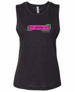 florescent pink improper neon streetwear tank top for women
