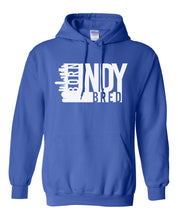 Load image into Gallery viewer, blue Indianapolis born and bred hoodie