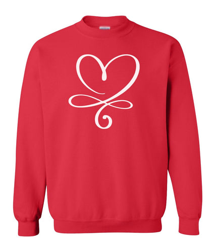 red infinity heart valentines day sweatshirt
