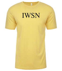 yellow iwsn mens crewneck t shirt