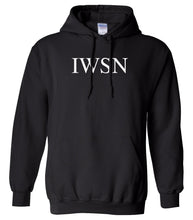 Load image into Gallery viewer, black IWSN hooded sweatshirt for women