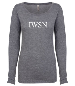 grey IWSN long sleeve scoop shirt for women