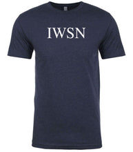 Load image into Gallery viewer, navy iwsn mens crewneck t shirt