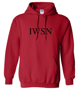 red IWSN hooded sweatshirt for women
