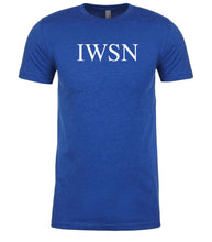 Load image into Gallery viewer, blue iwsn mens crewneck t shirt
